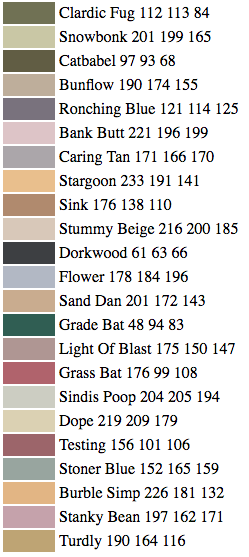 Visual list of some of the funny color names invented by Janelle Shane AI Algorithm