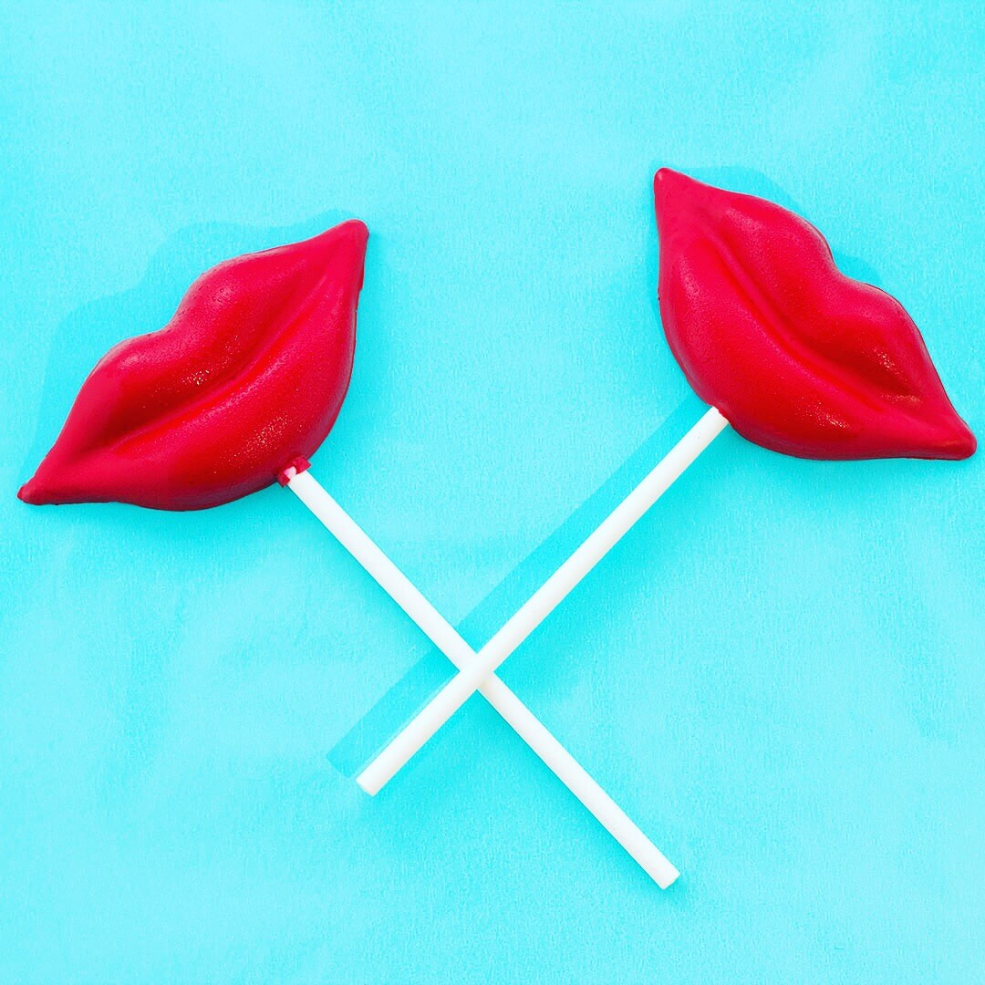 Lollipops in a lip shape made out of actual lipstick